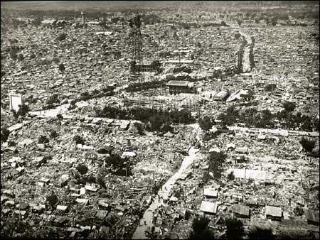 地震后的唐山一片廢墟