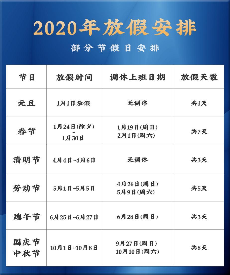 2020年放假通知,2020放假安排日历时间表最新公布
