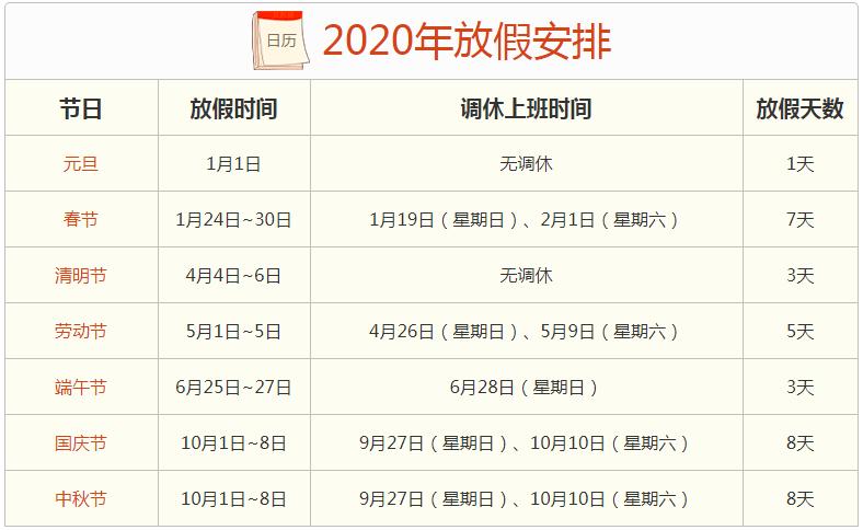 2020年放假通知,2020年放假安排时间表