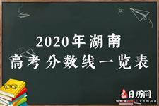 2020年湖南高考分数线一览表