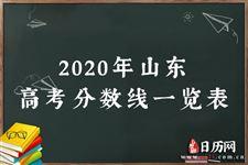 2020年山东高考分数线一览表