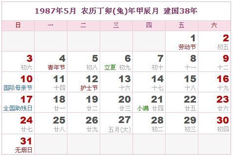 1987年5月日历表