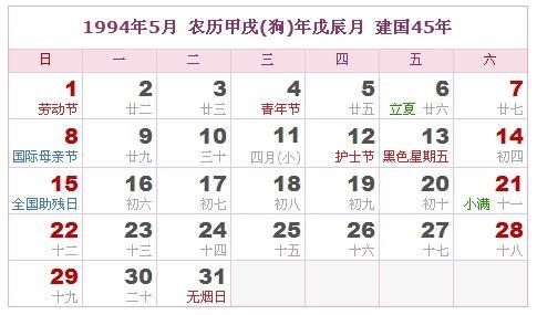 1994年5月日历表