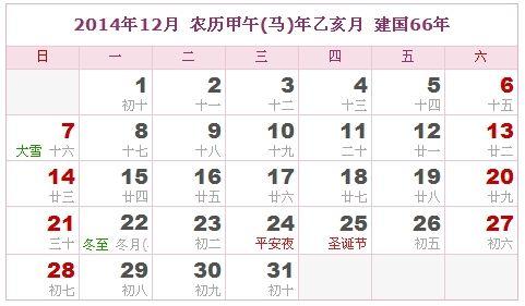 2014年12月日歷表