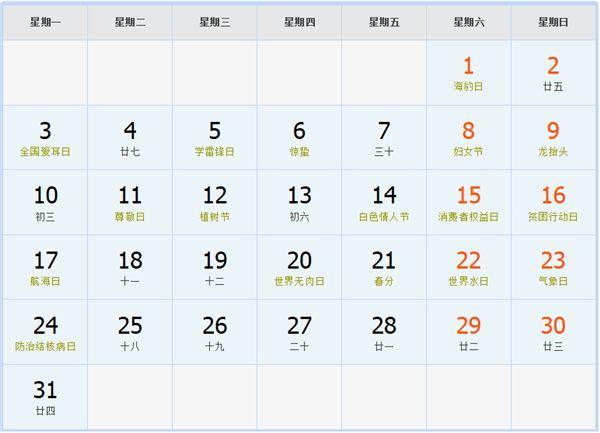 2008年3月日歷表
