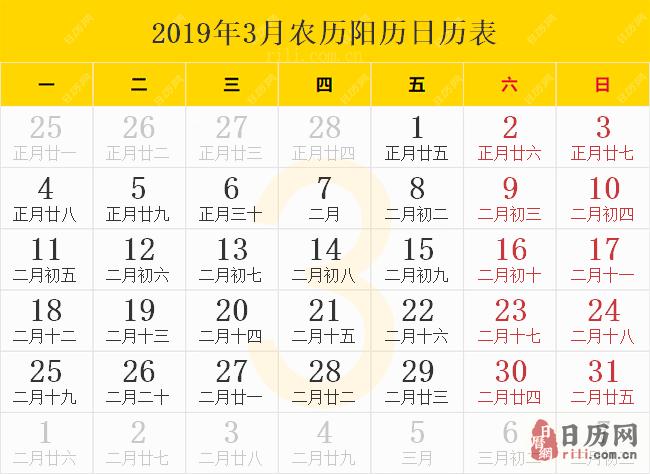 2019年3月农历阳历日历表
