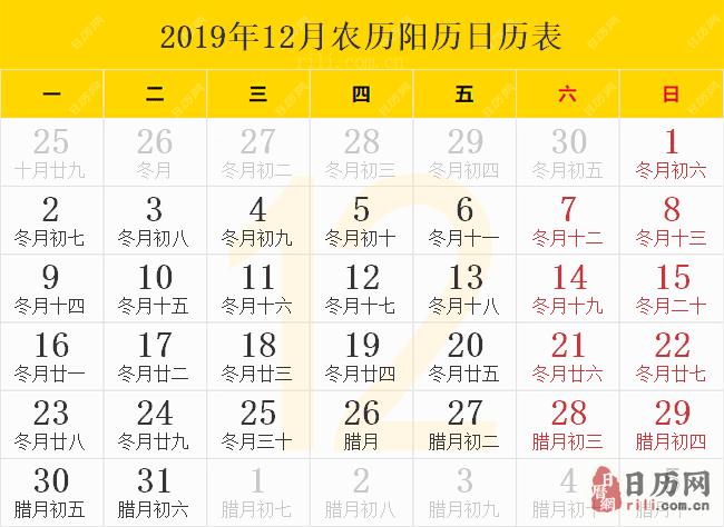 2019年12月农历阳历日历表