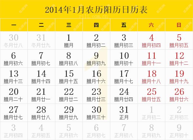 2014年1月农历阳历日历表
