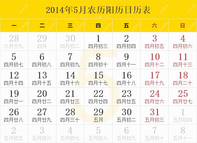 2014年5月农历阳历日历表