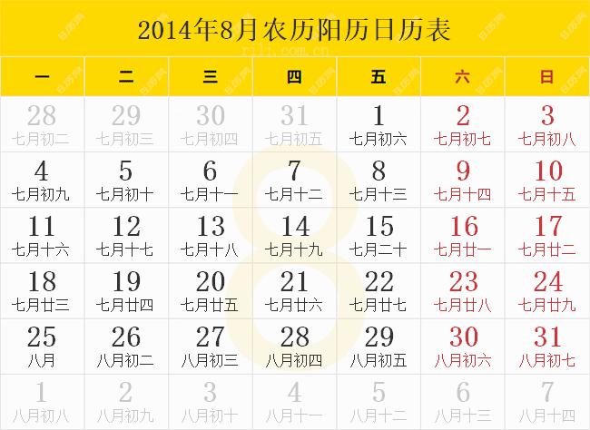 2014年8月农历阳历日历表