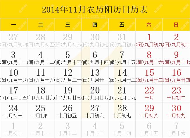 2014年11月农历阳历日历表