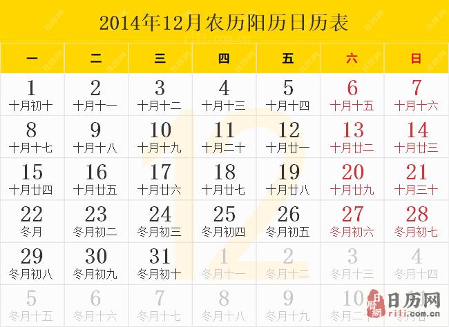 2014年12月农历阳历日历表