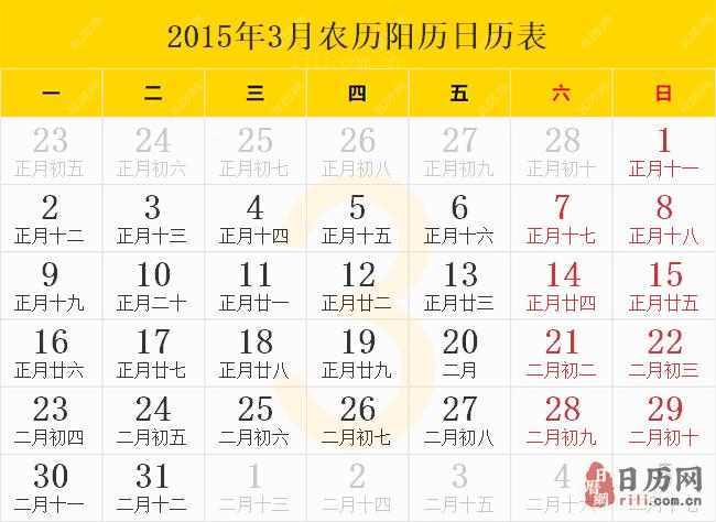 2015年3月农历阳历日历表