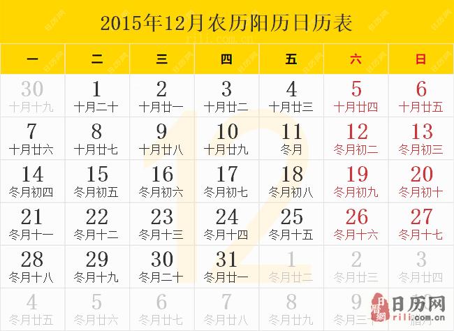 2015年12月农历阳历日历表