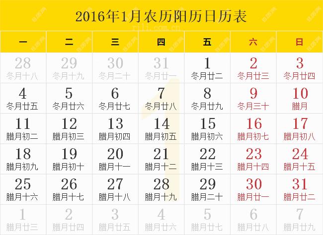 2016年1月农历阳历日历表