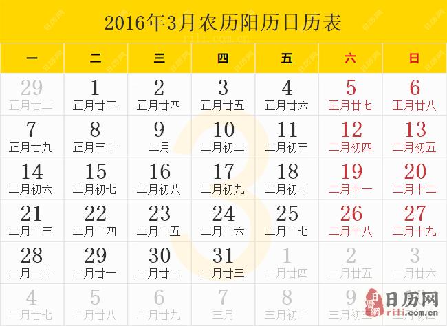 2016年3月农历阳历日历表