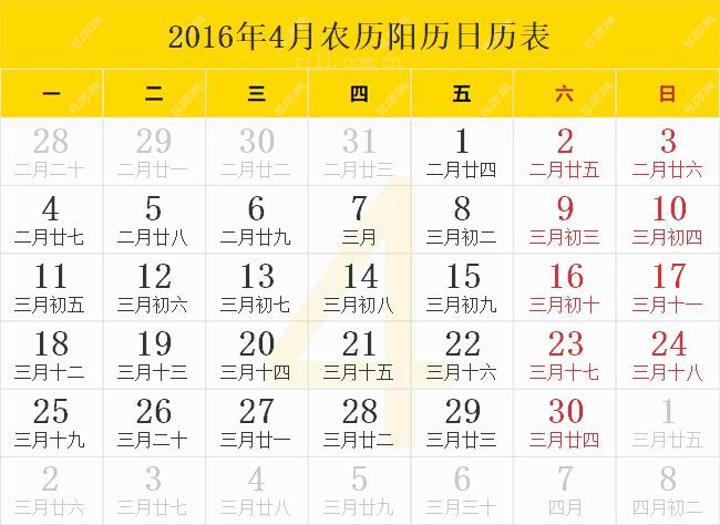 2016年4月农历阳历日历表
