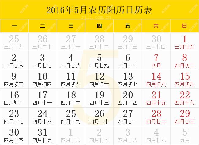 2016年5月农历阳历日历表