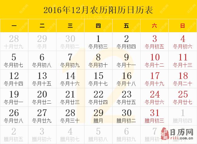 2016年12月农历阳历日历表
