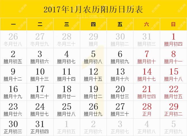 2017.1.农历阳历日历表