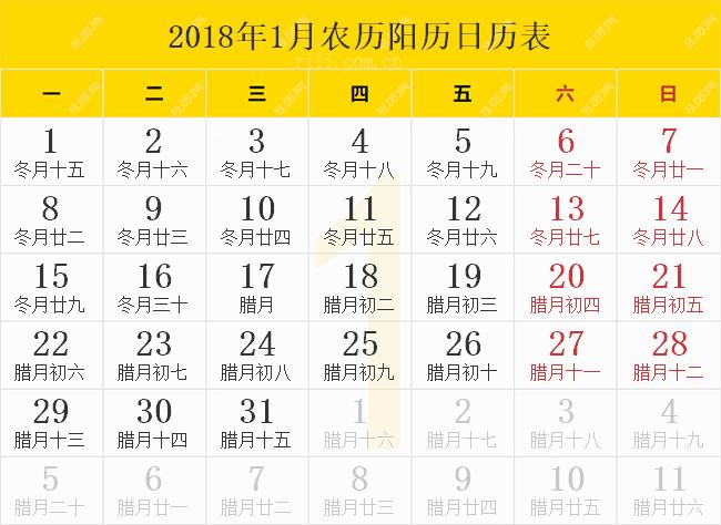 2018年1月农历阳历日历表