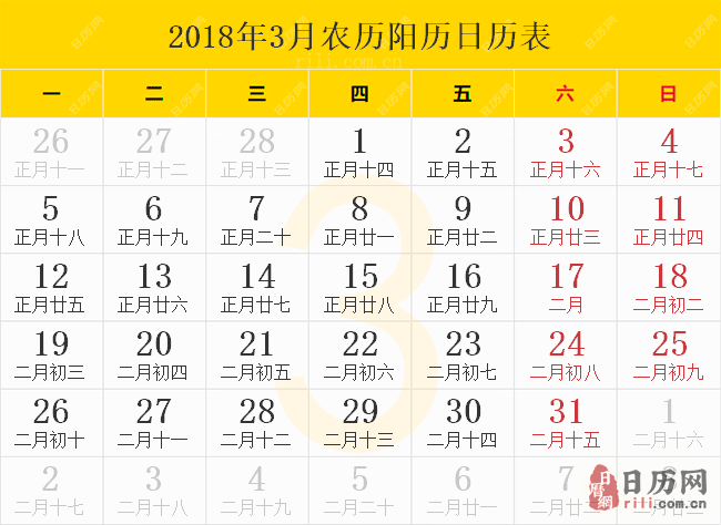 2018年3月农历阳历日历表