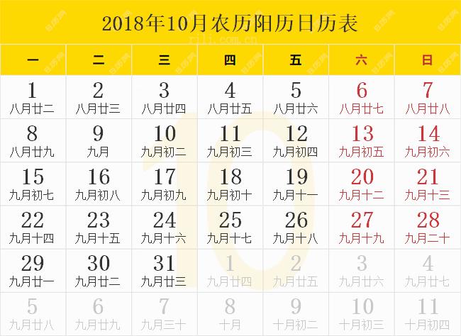 2018年10月农历阳历日历表