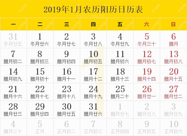 2019年1月农历阳历日历表