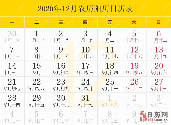 2020年12月农历阳历日历表
