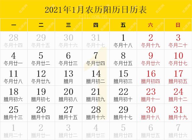 2021年1月农历阳历日历表