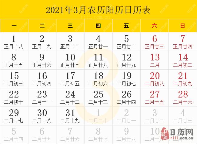 2021年3月农历阳历日历表