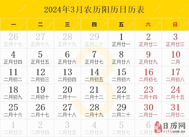 2024年3月农历阳历日历表