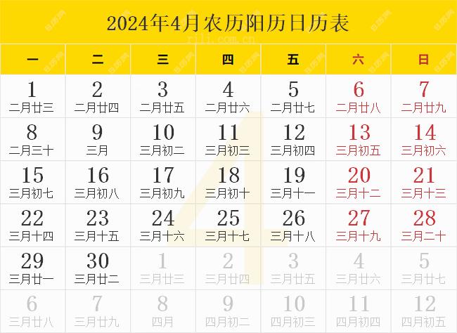 2024年4月农历阳历日历表