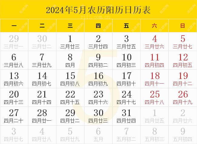 2024年5月农历阳历日历表
