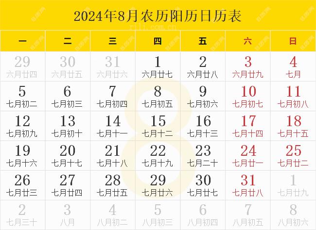 2024年8月农历阳历日历表