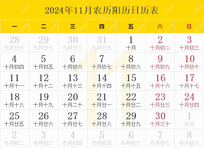 2024年11月农历阳历日历表
