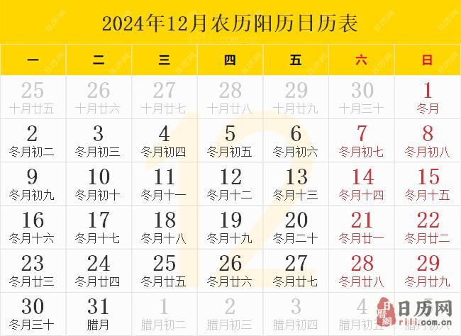 2024年12月农历阳历日历表