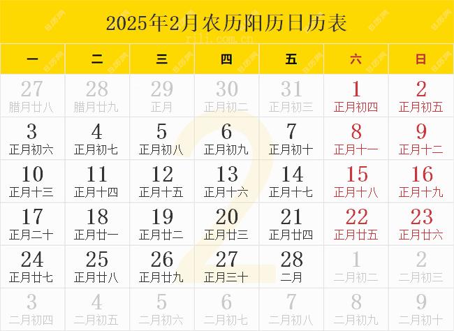 2025年2月农历阳历日历表