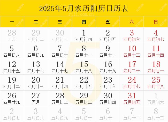 2025年5月农历阳历日历表