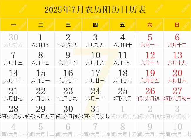 2025年7月农历阳历日历表