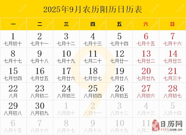2025年9月农历阳历日历表