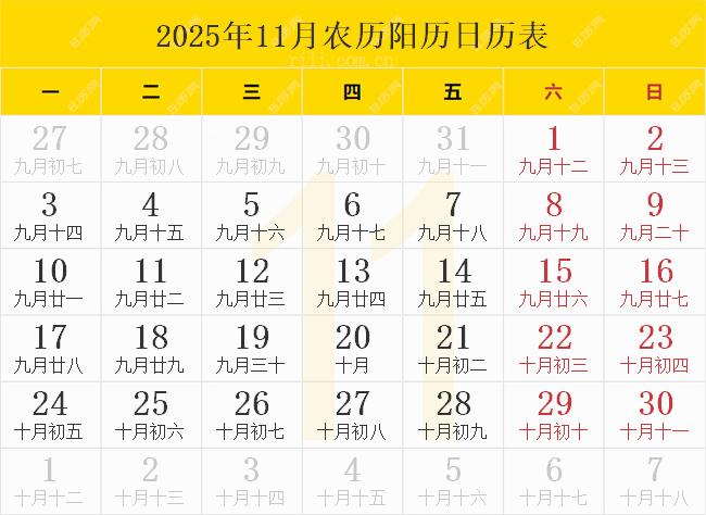 2025年11月农历阳历日历表