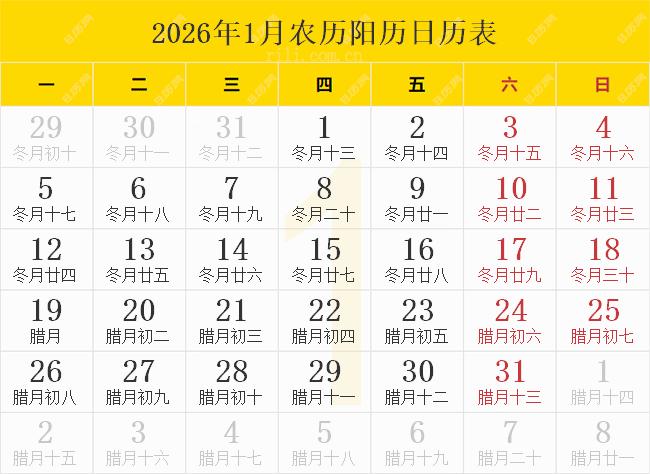 2026年1月农历阳历日历表
