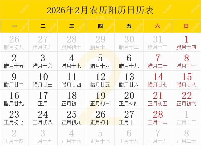 2026年2月农历阳历日历表