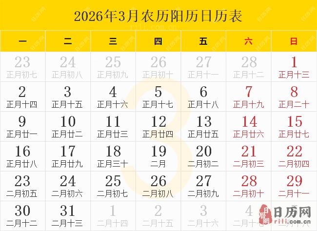 2026年3月农历阳历日历表