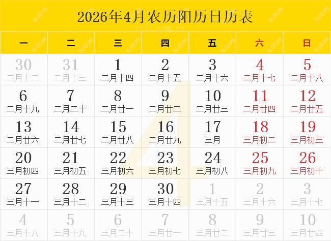 2026年4月农历阳历日历表
