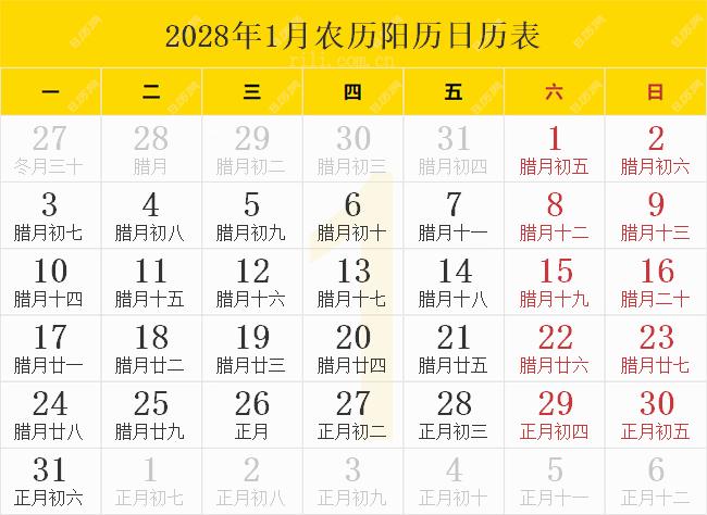 2028年1月农历阳历日历表