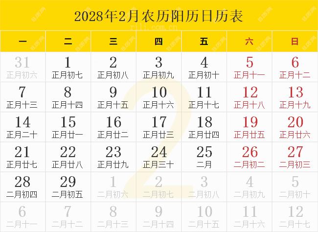 2028年2月农历阳历日历表