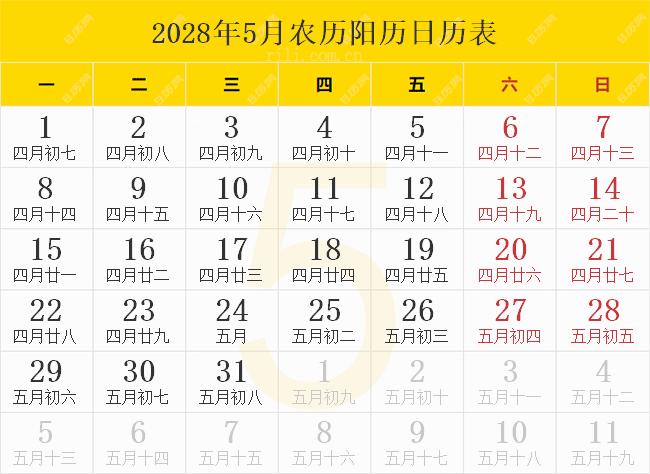 2028年5月农历阳历日历表