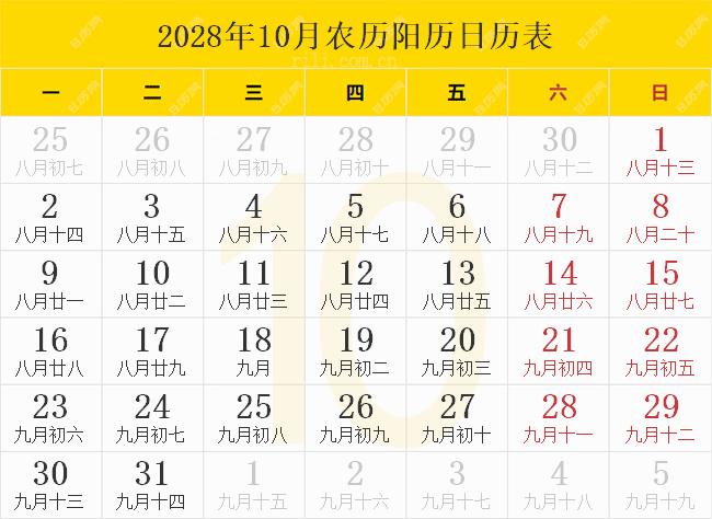 2028年10月农历阳历日历表